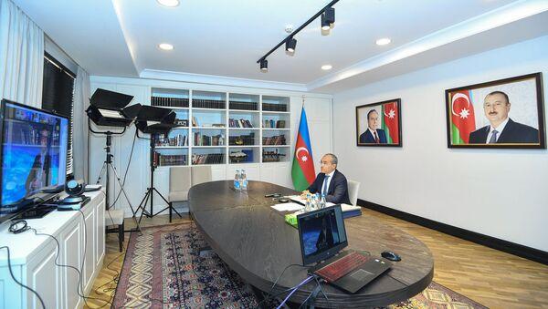 Министр экономики Микаил Джаббаров принял участие в заседании Региональной группы действий Всемирного экономического форума в формате видеоконференции - Sputnik Азербайджан