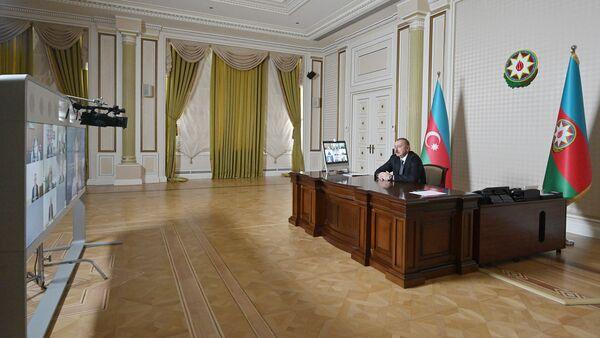 İlham Əliyev videokonfrans zamanı - Sputnik Azərbaycan