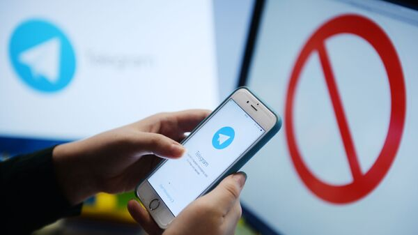 Мессенджер Telegram на экране телефона - Sputnik Азербайджан