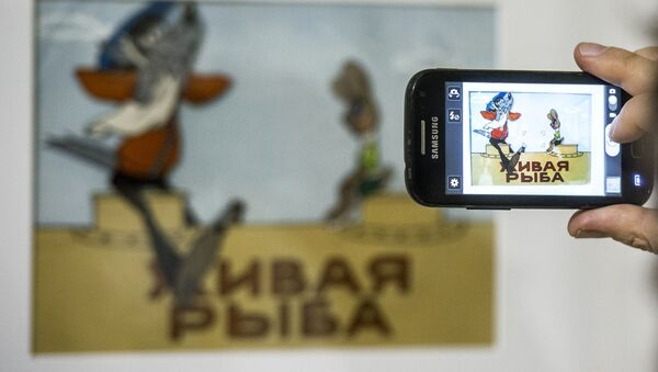 Стенд с персонажами мультфильма Ну, погоди! - Sputnik Азербайджан