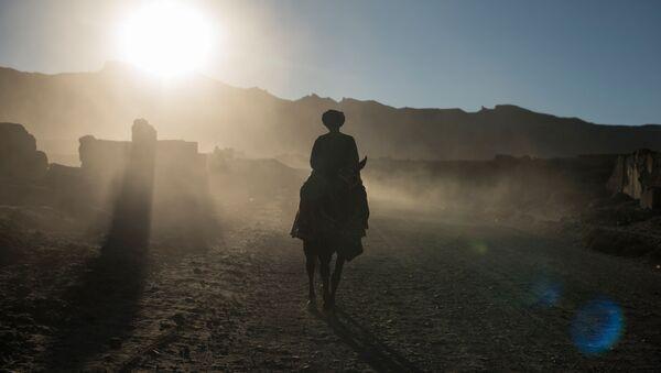 Мужчина едет верхом на лошади, фото из архива - Sputnik Азербайджан