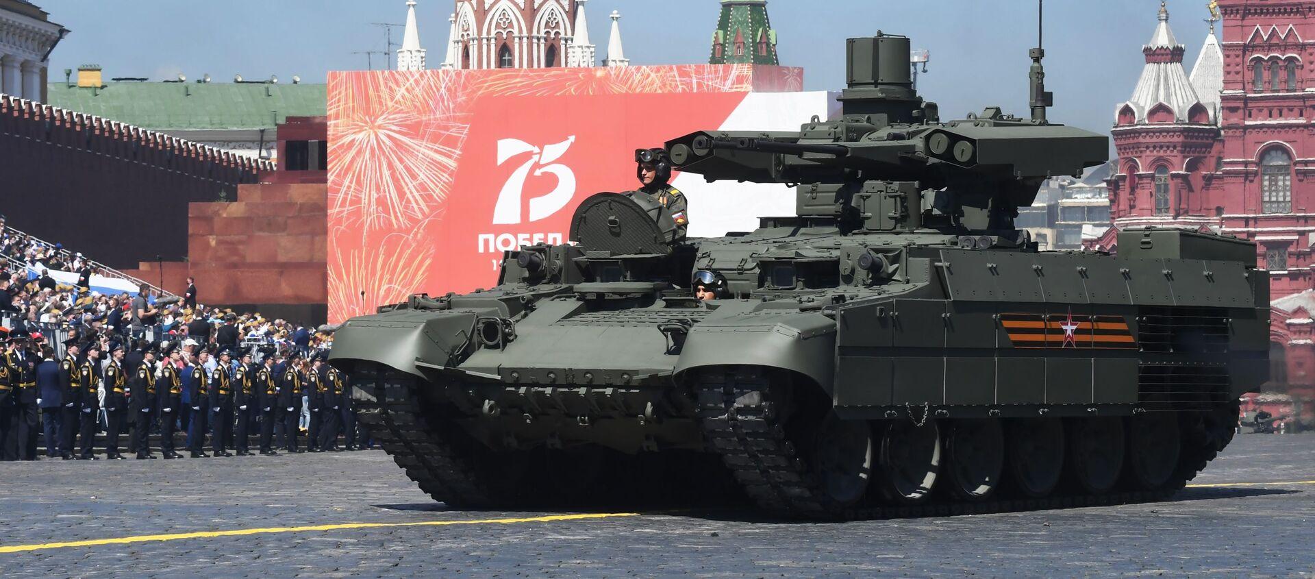 Боевая машина поддержки танков (БМПТ) Терминатор во время военного парада Победы - Sputnik Азербайджан, 1920, 27.04.2021