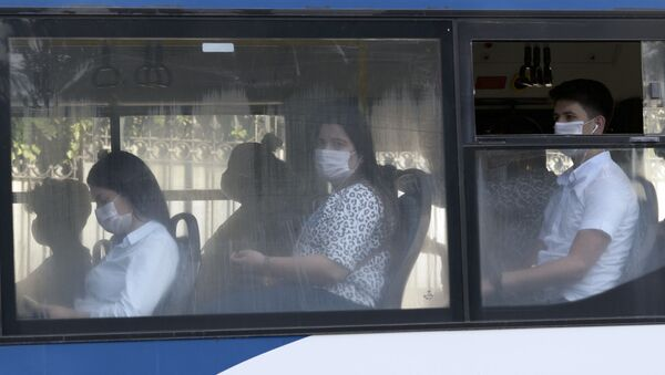 Люди в автобусе, фото из архива - Sputnik Azərbaycan
